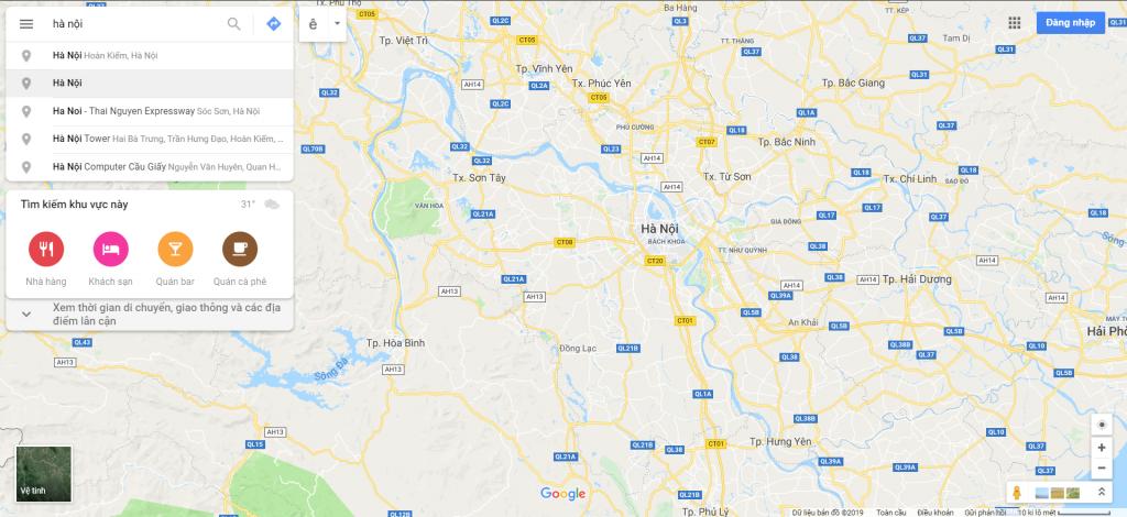 Cách tìm Khoảng cách từ Hà Nội đi các tỉnh