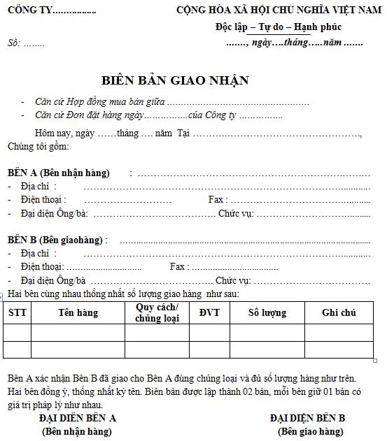 Mẫu biên bản bàn giao hàng hóa Tiếng Việt